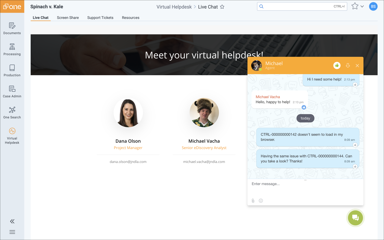 Virtual Helpdesk by JND eDiscovery Screenshot